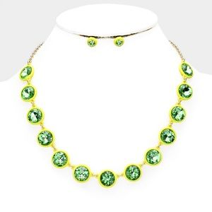 Lemon Lime Crystal Resin Trim Necklace